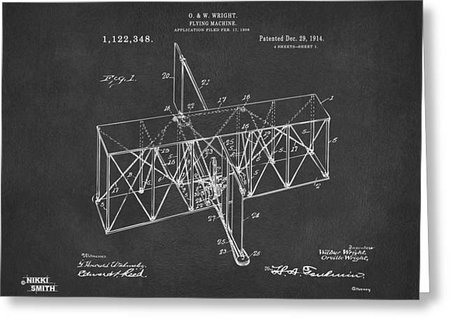 Greeting Card featuring the drawing 1914 Wright Brothers Flying Machine Patent Gray by Nikki Marie Smith
