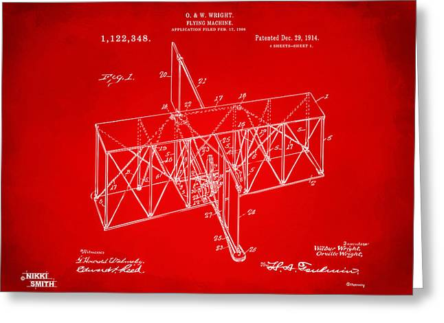 Greeting Card featuring the drawing 1914 Wright Brothers Flying Machine Patent Red by Nikki Marie Smith