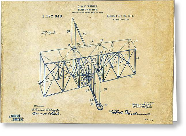 Greeting Card featuring the drawing 1914 Wright Brothers Flying Machine Patent Vintage by Nikki Marie Smith