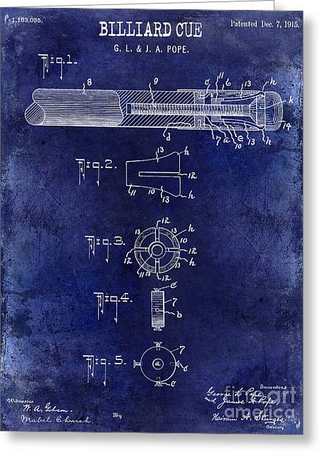 1915 Billiard Cue Patent Drawing Blue Greeting Card