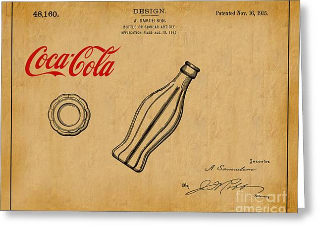 1915 Coca Cola Bottle Design Patent Art 1 Greeting Card by Nishanth Gopinathan
