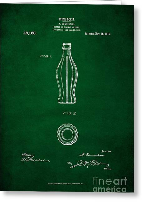 1915 Coca Cola Bottle Design Patent Art 4 Greeting Card by Nishanth Gopinathan