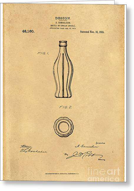 1915 Coca Cola Bottle Design Patent Art 5 Greeting Card by Nishanth Gopinathan