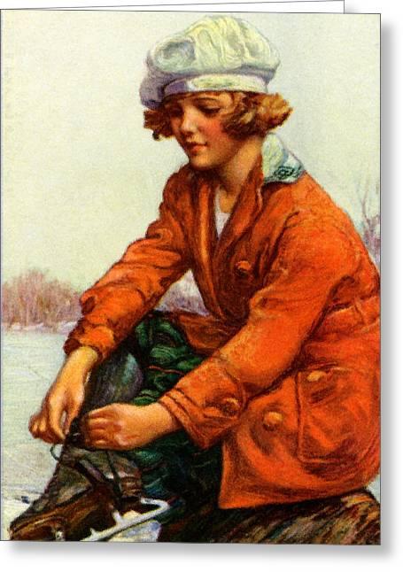 1915 Ice Skating Greeting Card by Historic Image