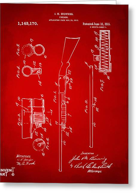 1915 Ithaca Shotgun Patent Red Greeting Card by Nikki Marie Smith