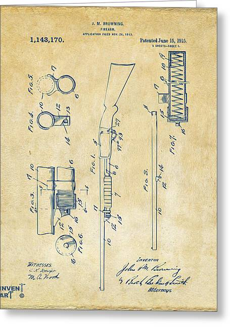 1915 Ithaca Shotgun Patent Vintage Greeting Card by Nikki Marie Smith