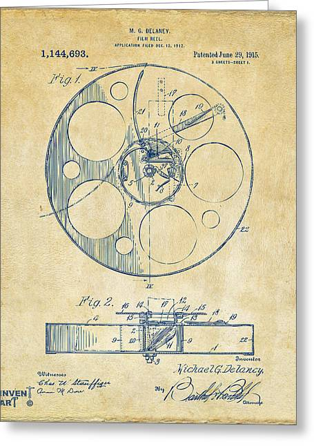 1915 Movie Film Reel Patent Vintage Greeting Card