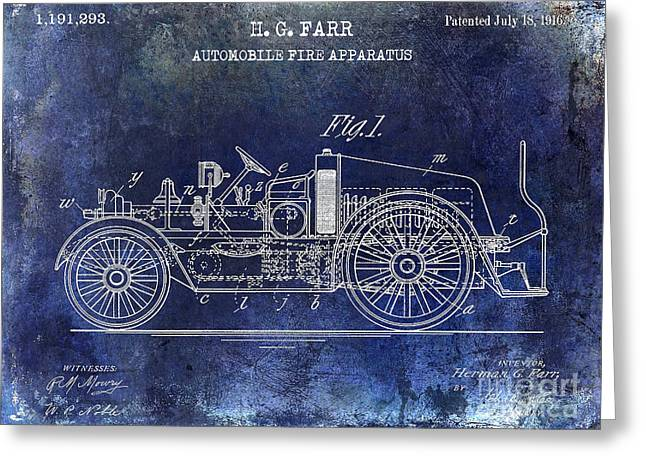1916 Automobile Fire Apparatus Patent Drawing Blue Greeting Card