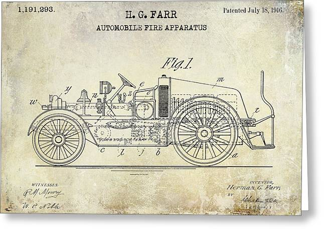 1916 Automobile Fire Apparatus Patent Drawing Greeting Card