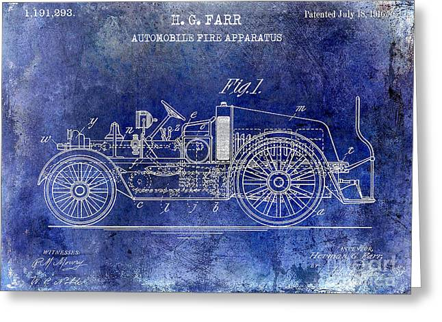1916 Automobile Fire Apparatus Patent Drawing Lt Blue Greeting Card by Jon Neidert