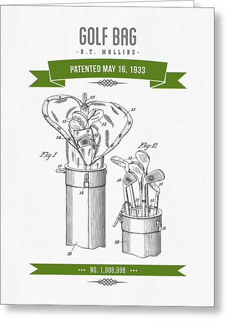 1916 Golf Bag Patent Drawing - Retro Green Greeting Card by Aged Pixel