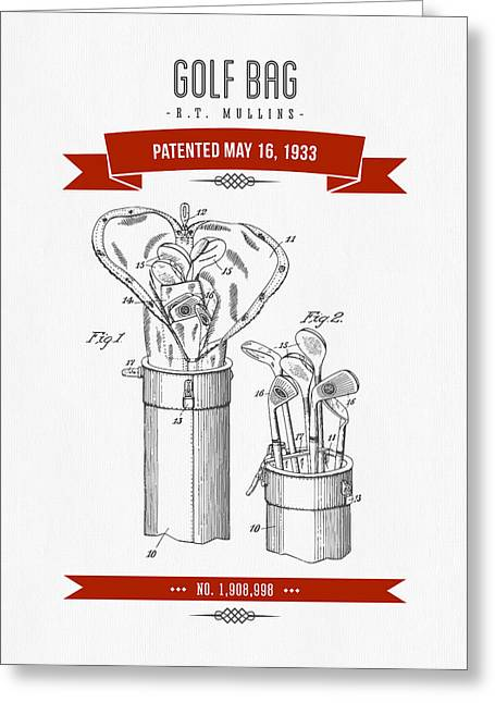 1916 Golf Bag Patent Drawing - Retro Red Greeting Card by Aged Pixel