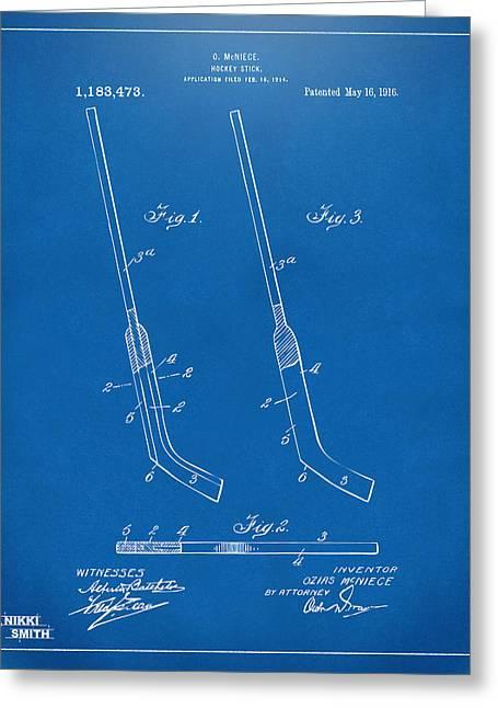 1916 Hockey Goalie Stick Patent Artwork - Blueprint Greeting Card by Nikki Marie Smith