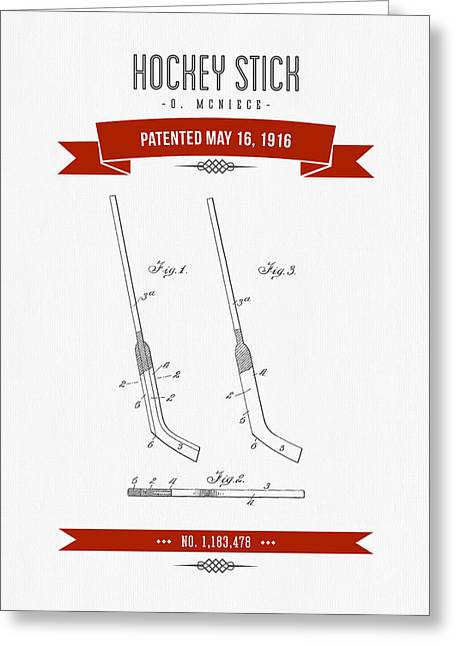 1916 Hockey Stick Patent Drawing - Retro Red Greeting Card