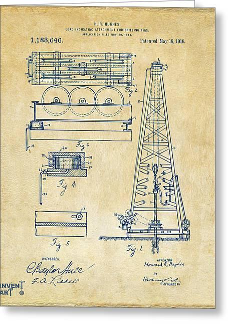 1916 Oil Drilling Rig Patent Artwork - Vintage Greeting Card