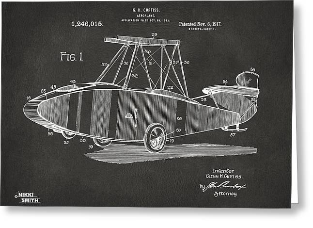 1917 Glenn Curtiss Aeroplane Patent Artwork - Gray Greeting Card by Nikki Marie Smith