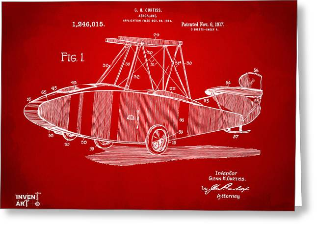 1917 Glenn Curtiss Aeroplane Patent Artwork Red Greeting Card by Nikki Marie Smith