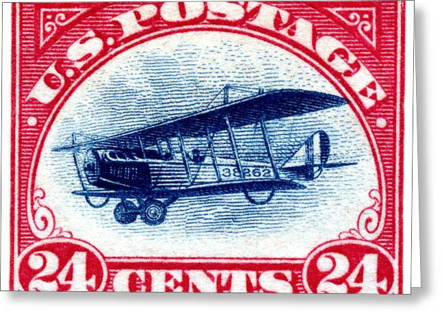 1918 Curtiss Jenny Air Mail Stamp Greeting Card by Historic Image