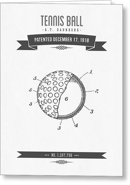1918 Tennis Racket Patent Drawing - Retro Gray Greeting Card by Aged Pixel