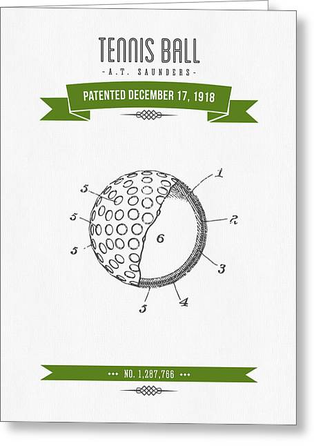 1918 Tennis Racket Patent Drawing - Retro Green Greeting Card by Aged Pixel