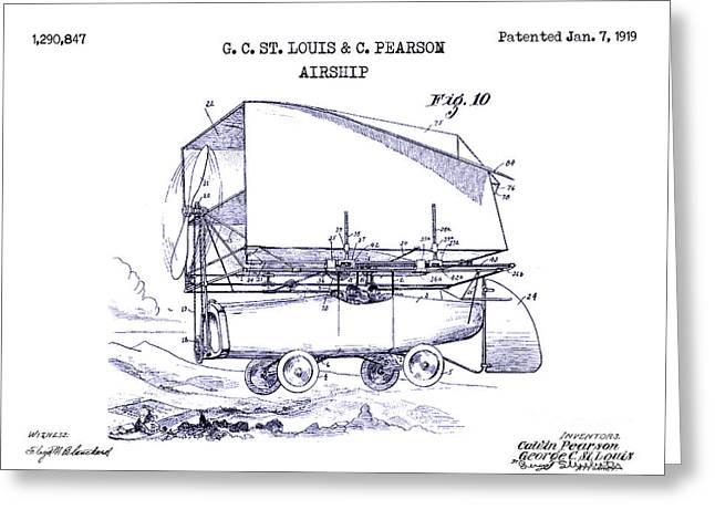 1919 Airship Patent Drawing Blueprint Greeting Card by Jon Neidert