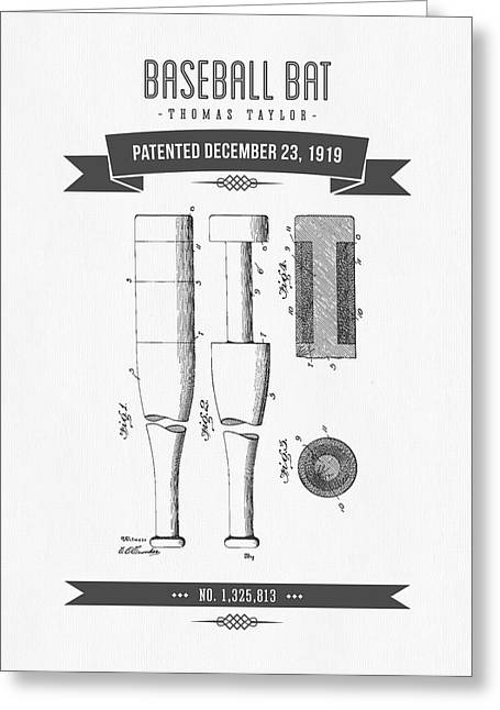 1919 Baseball Bat Patent Drawing Greeting Card by Aged Pixel