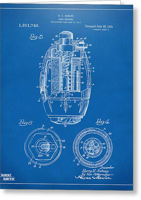 1919 Hand Grenade Patent Artwork - Blueprint Greeting Card by Nikki Marie Smith