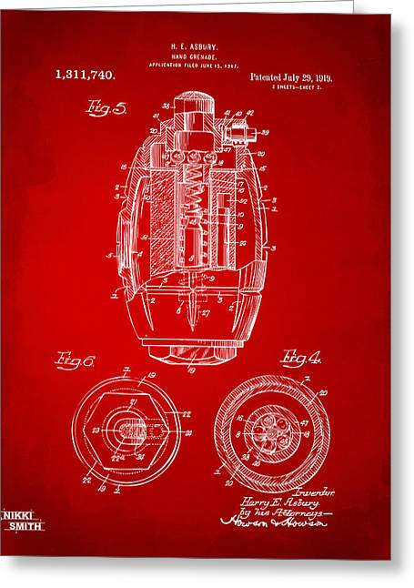 1919 Hand Grenade Patent Artwork - Red Greeting Card by Nikki Marie Smith