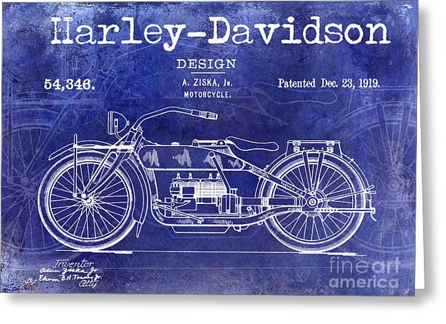1919 Harley Davidson Patent Drawing Blue Greeting Card