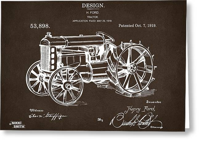 Greeting Card featuring the drawing 1919 Henry Ford Tractor Patent Espresso by Nikki Marie Smith