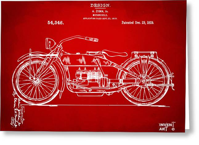 1919 Motorcycle Patent Red Greeting Card