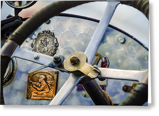 1920 Bugatti Type 13 Steering Wheel - Dashboard -1634c Greeting Card by Jill Reger