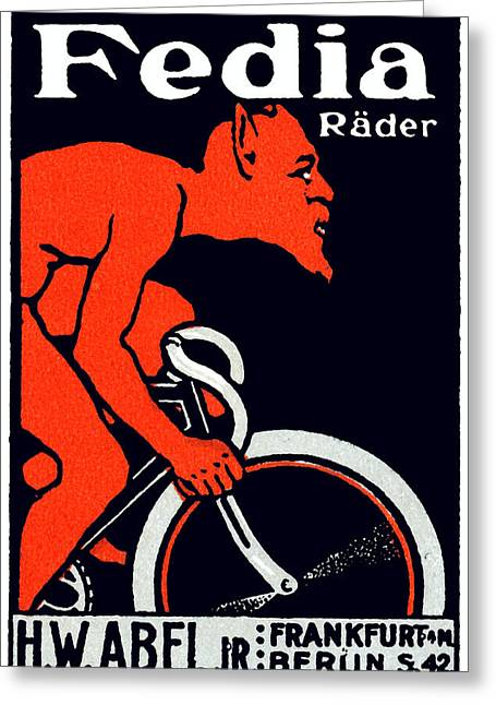 1920 Devil Riding A Bicycle Greeting Card by Historic Image