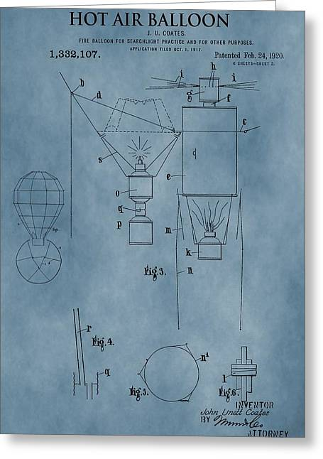 1920 Hot Air Balloon Patent Blue Greeting Card by Dan Sproul