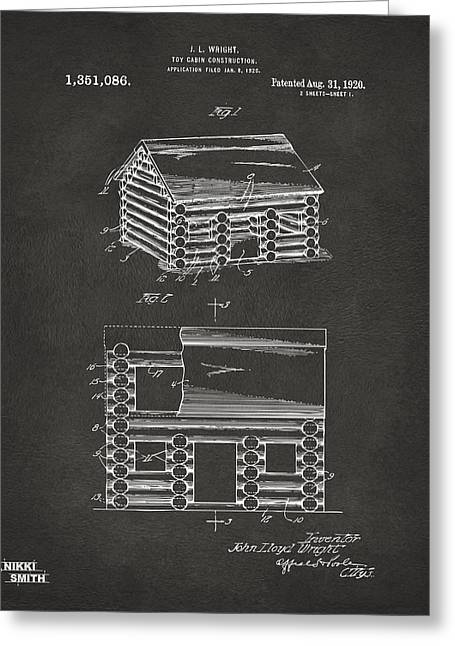 1920 Lincoln Logs Patent Artwork - Gray Greeting Card by Nikki Marie Smith