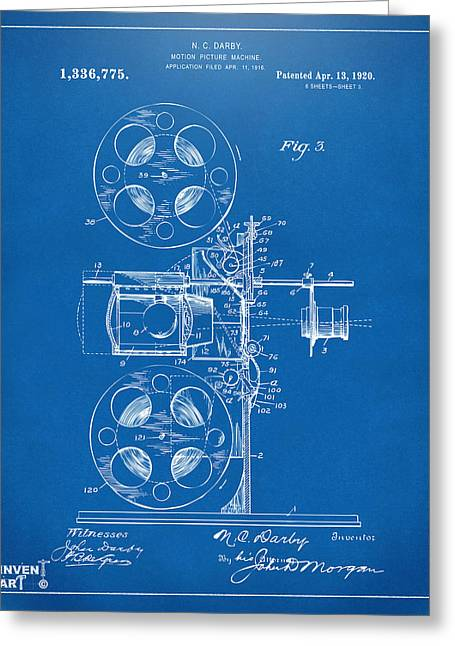 1920 Motion Picture Machine Patent Blueprint Greeting Card