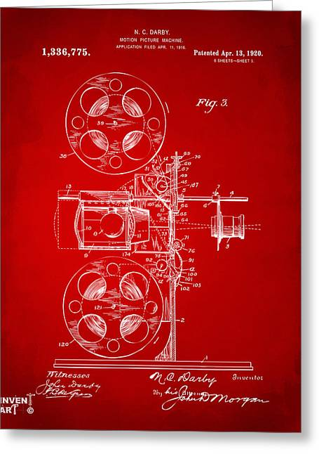 1920 Motion Picture Machine Patent Red Greeting Card