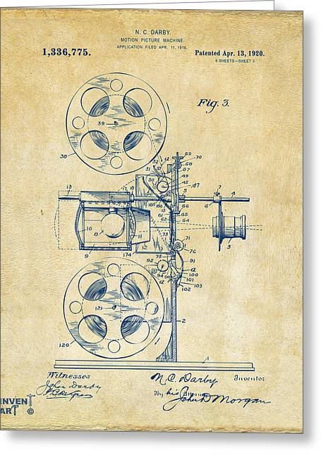 1920 Motion Picture Machine Patent Vintage Greeting Card