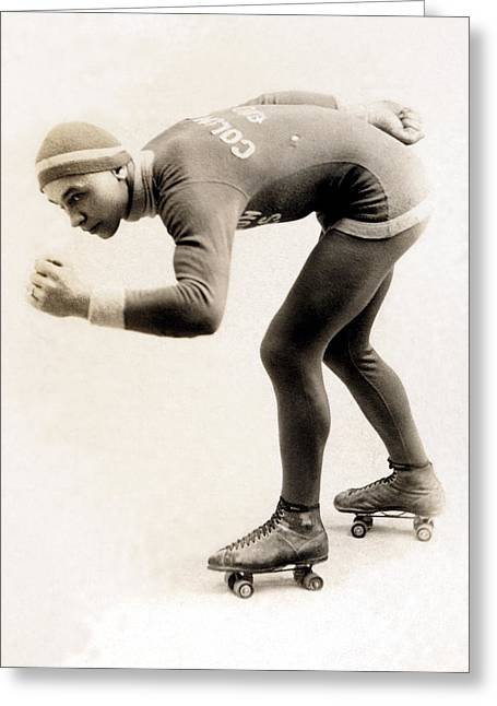 1920 Roller Skater No.2 Greeting Card by Historic Image