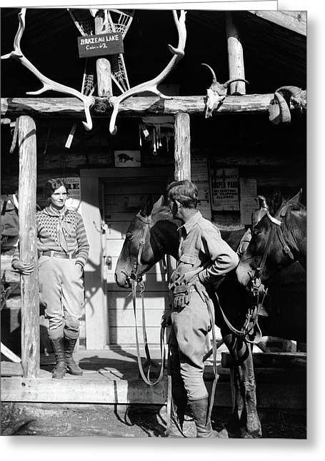 1920s 1930s Couple And Horses In Front Greeting Card