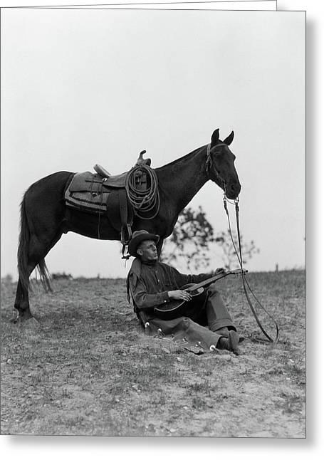 1920s 1930s Cowboy Sitting Greeting Card