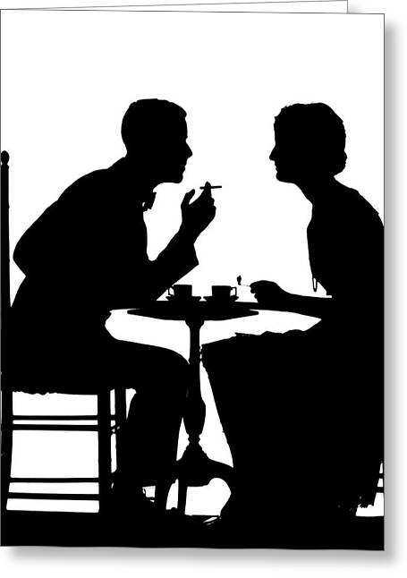 1920s 1930s Silhouette Of Anonymous Greeting Card