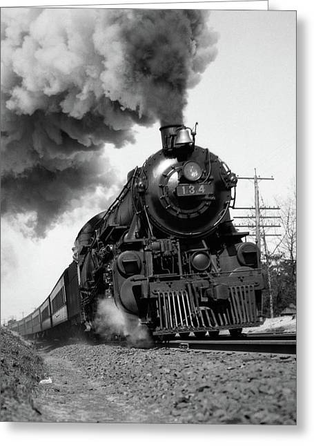 1920s 1930s Steam Engine Pulling Greeting Card