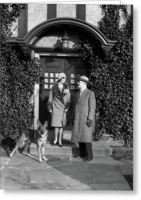 1920s Couple Wearing Coat Hat Gloves Greeting Card