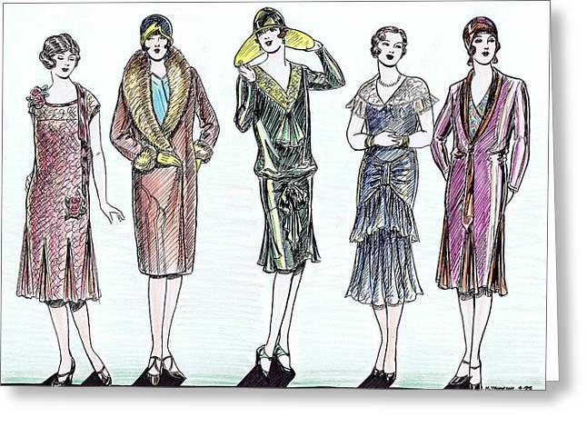 1920s Fashions Greeting Card by Mel Thompson