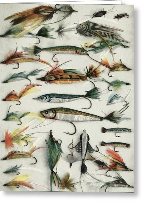 1920's Fishing Flies Greeting Card by Steve Taylor