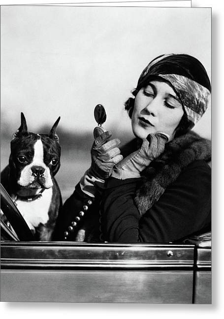 1920s Flapper In Convertible Powdering Greeting Card