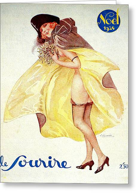 1920s France Le Sourire Magazine Cover Greeting Card by The Advertising Archives