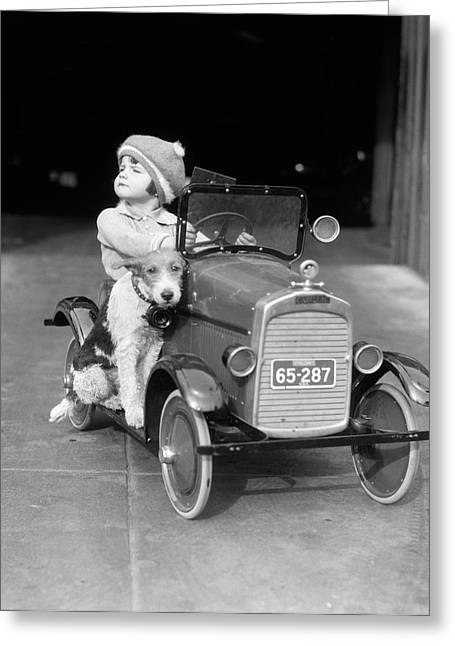 1920s Girl In Toy Pedal Car With Dog Greeting Card
