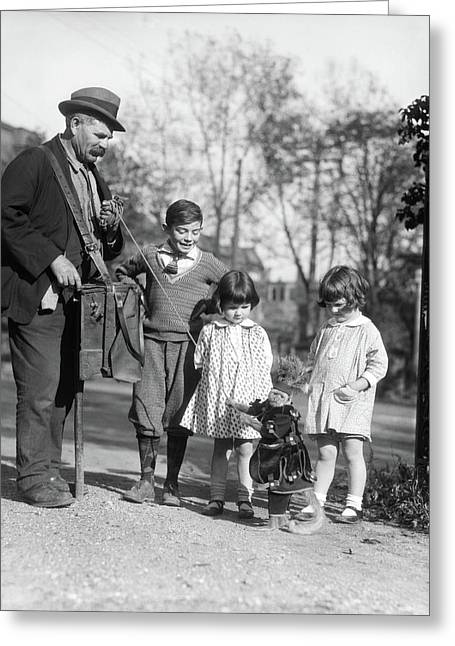 1920s Group Of Three Children Watching Greeting Card